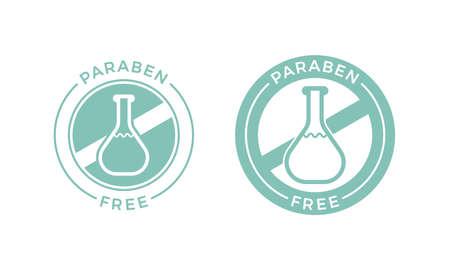 Icona dell'etichetta senza parabeni per prodotti sicuri per la salute e la pelle. Logo di test della fiala chimica di parabeni di vettore per il design della confezione di shampoo o crema cosmetica per la cura della pelle naturale