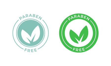 Paraben free label for skincare cosmetic package design. Vector skin or health safe products leaf logo design