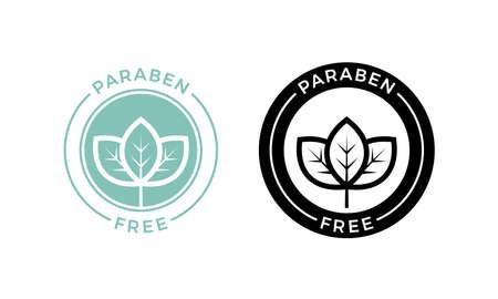 Etiqueta sin parabenos. Vector logo cosmético para el cuidado de la piel o producto seguro para la piel y la salud sin diseño de paquete de parabenos Logos