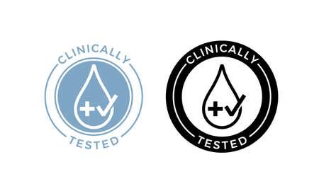 Etichetta clinicamente testata. Icona di pacchetto di prodotto sicuro per la salute medica o farmaceutica di vettore di goccia d'acqua e croce con timbro di segno di spunta approvato