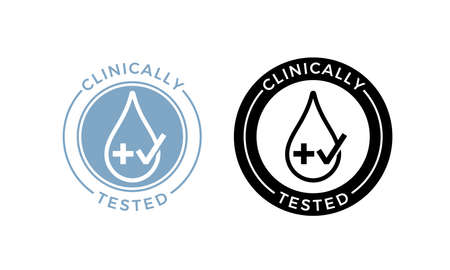 Clinically tested label. Vector medical or pharmaceutical health safe product package icon of water drop and cross with approved check mark stamp Illustration
