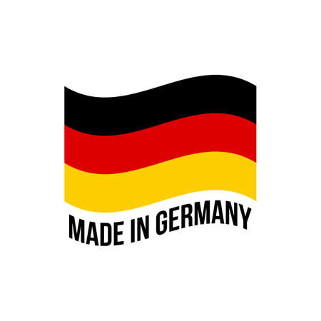Made in Germany icon with German flag. Vector quality logo or wavy flag badge for premium package design