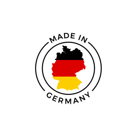 Made in Germany logo. Vector German flag in map quality label icon Stock Illustratie