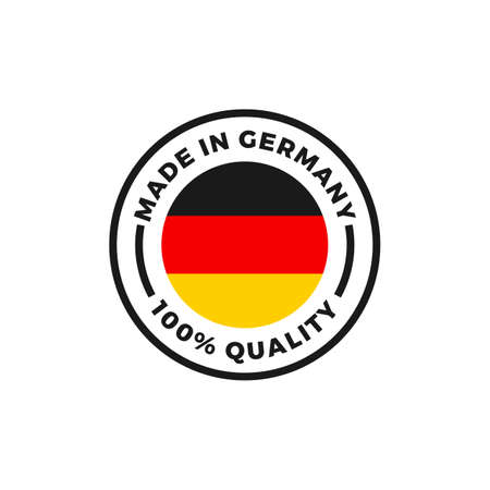 Made in Germany quality label icon. Vector German flag logo in circle frame