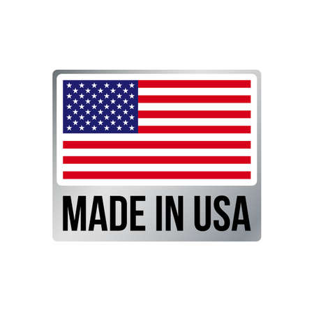 Made in USA label icon with American flag. Vector quality logo badge in silver metal frame