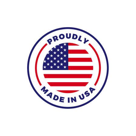 Made in USA Etikettenikone mit amerikanischem Flaggensiegel. Logo-Abzeichen in Vektorqualität für in den USA hergestelltes zertifiziertes Premium-Verpackungsdesign