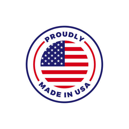 Made in USA label icon with American flag seal. Vector quality logo badge for US made certified premium package design