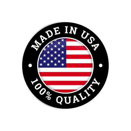 Made in USA 100 percent original premium quality seal icon. Vector American flag logo in circle frame for made in USA brand product Illustration