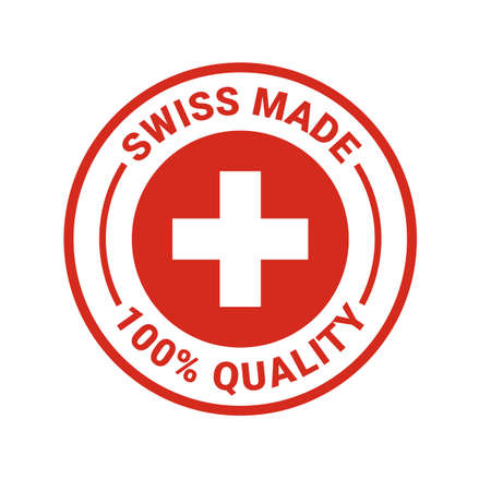 Swiss made seal logo. Vector 100 percent premium Switzerland quality badge icon with Swiss flag Stock Vector - 108054767