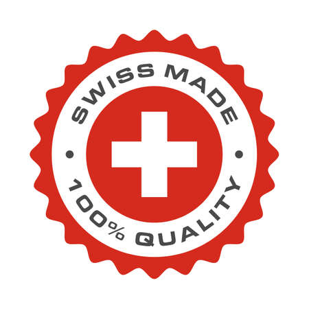 Swiss made 100 percent original premium quality seal icon. Vector Switzerland flag logo in circle frame