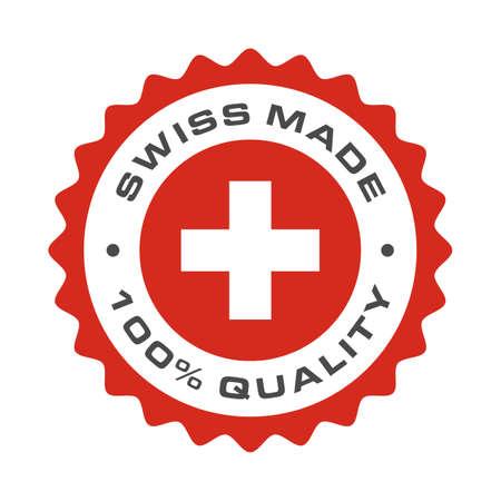 Icône de sceau de qualité supérieure 100% d'origine suisse. Logo du drapeau de la Suisse vectoriel dans le cadre du cercle