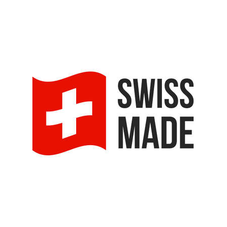 Schweizer Ikone mit Schweizer Flagge. Vektor-Logo oder Premium-Qualitätsgarantieetikett für das Design von Produktverpackungen aus der Schweiz