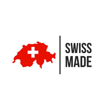 Swiss made label icon with Switzerland flag on map. Vector quality logo badge for Swiss made brand product premium tag