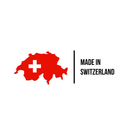 Swiss made icon with Switzerland map and flag for premium brand quality label. Vector Swiss made product tag for package design Vectores