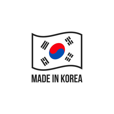 Made in Korea icon with Korean flag. Vector logo or premium quality warranty label and made in Korea product package design