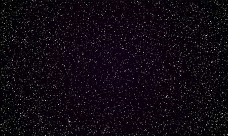 Starry sky space background of perfect dark night and twinkling stars. Vector real stars and planets shine in perfect black galaxy