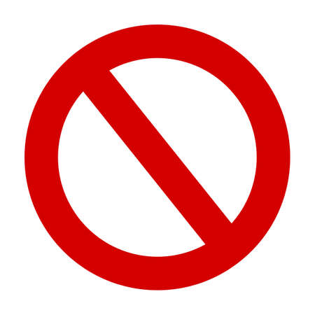 Stop sign vector red icon. Vector warning or no entry forbidden circle and line symbol