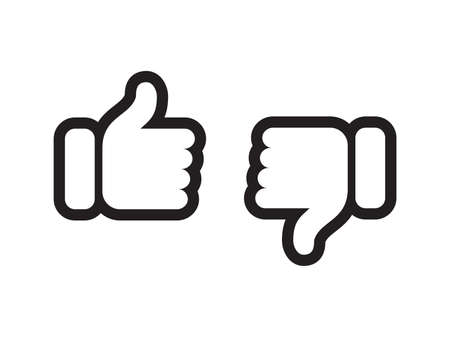 Thumb up and down vector web icons. Vector thin line symbols for positive or negative feedback, like and unlike or dislike review signs