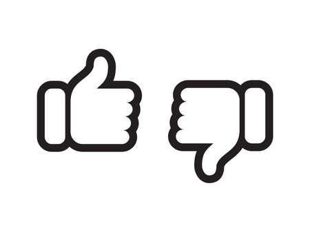 Kciuk w górę iw dół wektorowe ikony www. Wektorowe symbole cienkich linii dla pozytywnych lub negatywnych opinii, takich jak lubienie, nie lubię lub nie lubię znaków recenzji Ilustracje wektorowe