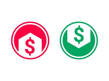 Symbol für niedrige Kostensenkung und Wachstum. Vektorsymbol von Pfeil und Dollar für Finanzrate