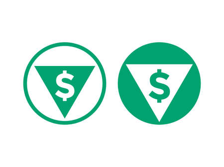 Cost price low decrease icon. Vector green symbol of arrow and dollar for financial grow rate in stock exchange market