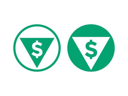precio bajo el precio bajo el icono. icono de vector verde de la flecha y el euro de la tasa de cálculo en el mercado de cambio de acciones