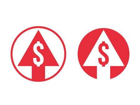 Cost price grow increase dollar and arrow icon. Vector red symbol for financial dollar currency and cryptocurrency high index rate or stock exchange market design Vektoros illusztráció