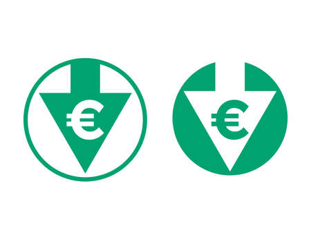 Cost price low decrease Euro and arrow icon. Vector green symbol for financial Euro currency and cryptocurrency reduce index rate or stock exchange market design Stock Illustratie
