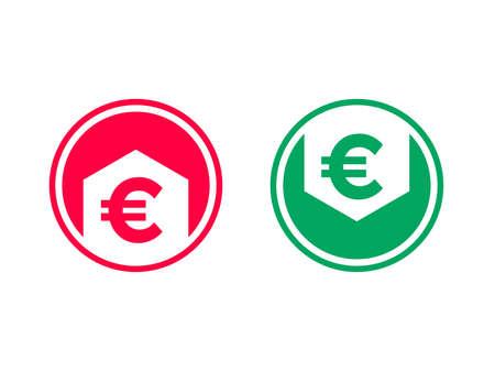 Precio de costo bajo disminución y crecimiento icono de aumento. Símbolo de vector de flecha y euro para tasa financiera Ilustración de vector
