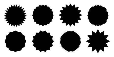 Promo sale starburst or sticker of sunburst label icon. Vector black star price tag or quality mark badge for blank template design