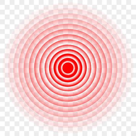 Schmerz rotes Kreissymbol oder Zielradiallogo für Schmerzmittelmedizin. Vektorschmerzkreissymbol für Pillenverpackungsdesign Logo