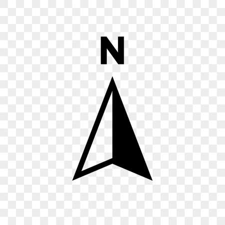 North arrow icon or N direction point symbol. Vector logo for GPS navigator map isolated on transparent background Stock Vector - 108090641