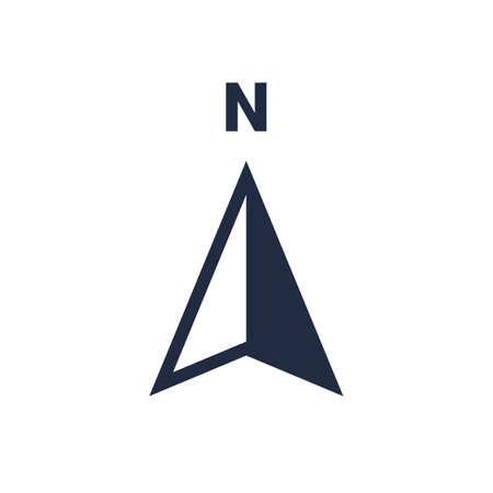 Icona freccia nord o direzione N e simbolo del punto di navigazione. Logo vettoriale per mappa navigatore GPS isolato su priorità bassa bianca