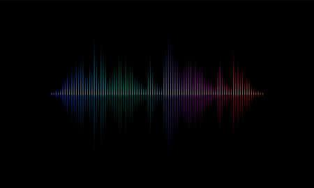 Sound Radiowellenhintergrund von Musiklied oder Soundtrack lautes Licht-Equalizer-Diagramm. Vektor-Neonlicht-Diagramm des Schallwellenmusters auf schwarzem Hintergrund Vektorgrafik