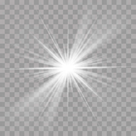 Light rays sun or star shine flash radiance effect. Vector bright explosion glow on transparent background