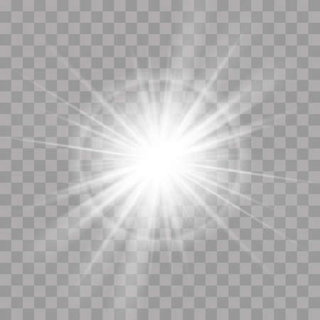 Light effect or rays flash radiance. Vector sun or star shine ray bright explosion glow with lens flare on transparent background Ilustração