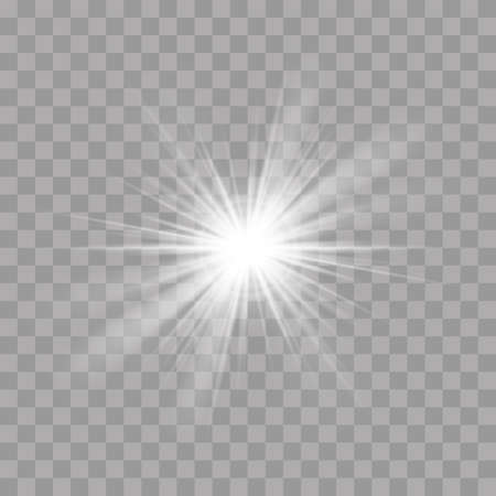 Light rays sun or star shine and glow flash radiance with sparkling effect. Vector bright explosion glow on transparent background Çizim