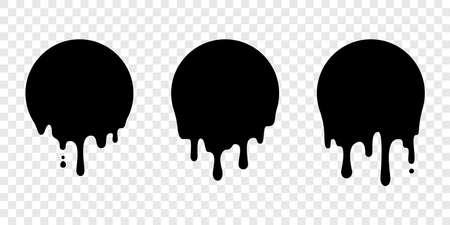 Dipingi adesivi a goccia o etichette circolari. Icone di gocce di liquido vettoriali per adesivi blob di graffiti