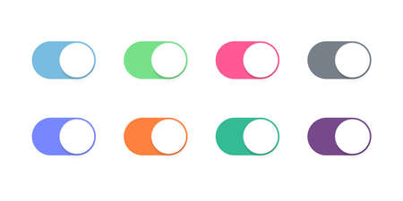 Toggle button switch off or turn on slider vector icons for web UI interface design Ilustração Vetorial