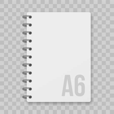 Notepad blocknote or paper block note. Vector isolated note pad or dairy mockup with spiral cover Vectores
