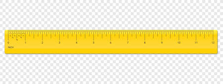 Ruler inch scale. Vector school, plastic yellow ruler with inches measurement