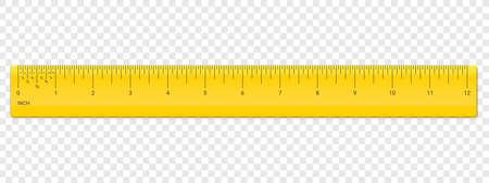 ルーラー インチのスケール。ベクトルスクール、インチ測定を有するプラスチック黄色の定規