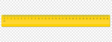 Ruler centimeter cm scale. Vector school, plastic yellow ruler with centimeters measurement