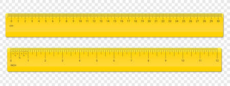 Ruler inches and cm scale. Vector school, plastic yellow isolated rulers with inch and centimeters measurement