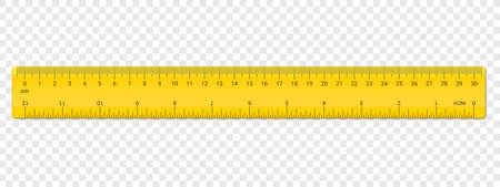 Regla en pulgadas y escala en cm en ambos lados. Escuela de vector, reglas aisladas de plástico amarillo con pulgadas y centímetros de medición de doble cara