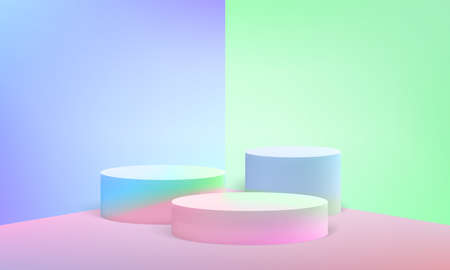 Podium scene or 3D round pillar stand on minimal pastel vector studio background
