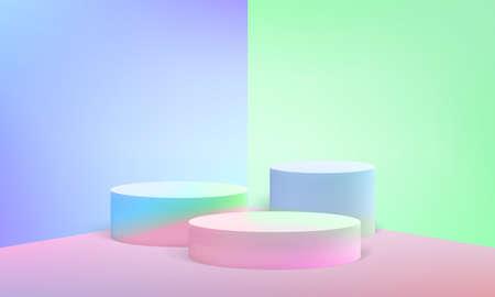 Escena de podio o soporte de pilar redondo 3D sobre fondo de estudio de vector pastel mínimo
