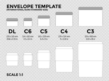 Modèle d'enveloppe avec des tailles standard internationales, euro c6, c5, c4, c3 pour papier plié a4, a5 avec lignes de coupe. Illustration vectorielle
