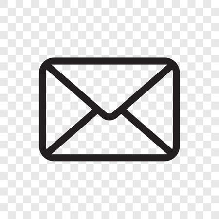 Email envelope icon. Vector black mail message symbol isolated on transparent background