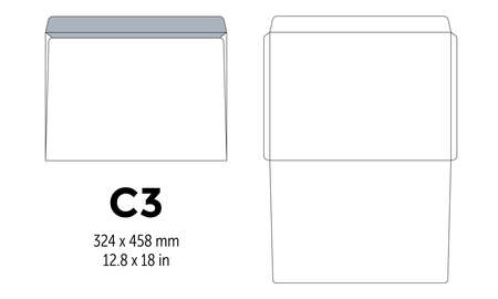 Envelope c3 template for a4, a5 paper with cut lines. Vector illustration Illustration